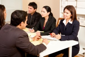people in a group interview